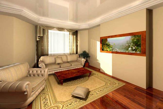 интерьер в комнате с высоким потолком